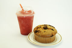 Smoothie Strawberry and Chocolate Chip Muffin. Served in plastic cup Royalty Free Stock Image