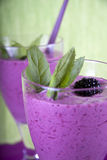 Smoothie with strawberry, mint and blackberry Stock Images