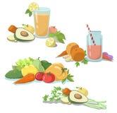 smoothie Suco fresco Dieta saudável Frutas e legumes Limpe o alimento ilustração stock