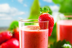 Smoothie. Summer drink, strawberry smoothies, outdoor Royalty Free Stock Images
