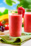 Smoothie. Summer drink, strawberry smoothies, outdoor Stock Image