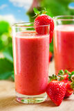 Smoothie. Summer drink, strawberry smoothies, outdoor Royalty Free Stock Photo