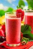 Smoothie. Summer drink, strawberry smoothies, outdoor Stock Photos