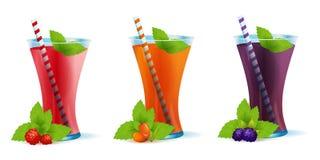 Smoothie sunda Berry Drinks Set royaltyfri foto
