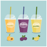 Smoothie to go take away and smoothie to go healthy juice fresh diet. Organic fruit shake smoothie. Cartoon smoothie to go cup with different fruits smoothies Royalty Free Stock Image