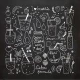 Smoothie und rohe Lebensmittelsammlung Hand gezeichnete Ikonen Stockfotos