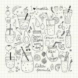Smoothie und rohe Lebensmittelsammlung Hand gezeichnete Vektorikonen Stockbilder