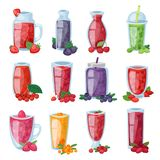 Smoothie vector healthy berry drink in glass or fresh beverage mix of strawberry blueberry and raspberry illustration. Set of berrylike juice of gooseberry or stock illustration