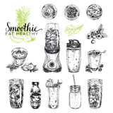 Smoothie vector set. Healthy foods illustrations in sketch style Royalty Free Stock Photos