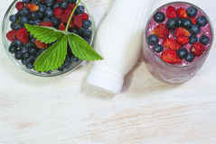Smoothie with wildberries Stock Photos