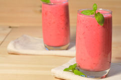 Smoothie on  wooden background Royalty Free Stock Photo