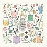 Smoothie y colección cruda de la comida Iconos dibujados mano del vector Foto de archivo