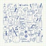 Smoothie y colección cruda de la comida Iconos dibujados mano del vector Foto de archivo libre de regalías