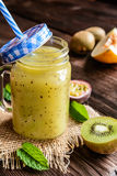 Smoothie with yellow melon, kiwi and passion fruit Stock Photos