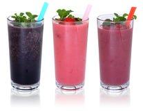 SmoothieFruchtsaftmilchshake mit den Früchten in Folge lokalisiert Lizenzfreie Stockfotos