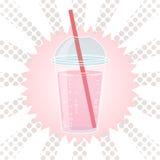 Smoothien bubblate eller mjölkar coctaildesign i komisk stil för popkonst, vektorillustration Arkivbilder
