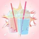 Smoothien bubblate eller mjölkar coctaildesign i komisk stil för popkonst, vektorillustration Royaltyfri Fotografi