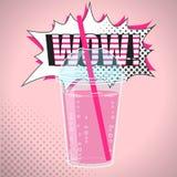 Smoothien bubblate eller mjölkar coctaildesign i komisk stil för popkonst, vektorillustration Arkivfoto