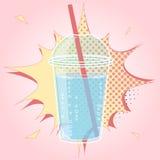Smoothien bubblate eller mjölkar coctaildesign i komisk stil för popkonst, vektorillustration Fotografering för Bildbyråer