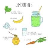 Smoothierecept met een fles en ingrediënten Detox, het gezonde eten Stock Afbeeldingen