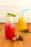 Smoothies апельсина и арбуза с lichee и мятой Стоковые Изображения RF
