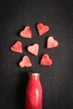 Smoothies или сок арбуза в бутылке на черной предпосылке Стоковое Изображение
