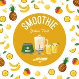 smoothies Amarillo de la fruta Ilustración del vector imagenes de archivo
