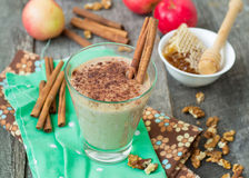 Smoothies apple pie with nuts and cinnamon. Royalty Free Stock Photo