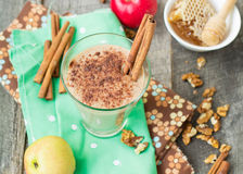 Smoothies apple pie with nuts and cinnamon. Royalty Free Stock Image