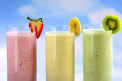 Smoothies Assorted da fruta Foto de Stock Royalty Free