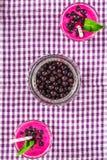 Smoothies av den svarta vinbäret i glass exponeringsglas med sugrör på en vit trätabell Top beskådar Arkivbilder