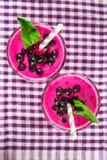 Smoothies av den svarta vinbäret i glass exponeringsglas med sugrör på en whi Royaltyfri Bild