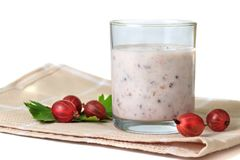 Smoothies with berries gooseberry on serviette Stock Image