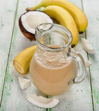 Smoothies with coconut milk and banana Royalty Free Stock Image