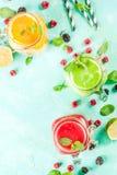 Smoothies coloridos de la fruta y del veggie Imagen de archivo