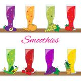 Smoothies de bande dessinée Conception plate Illustration de vecteur Photos libres de droits