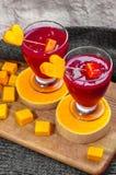 Smoothies de la frambuesa de la vitamina Fotografía de archivo