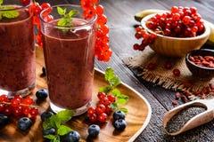 Smoothies de la fruta con las pasas rojas, el arándano, el plátano, las bayas del goji y las semillas del chia Fotografía de archivo