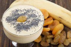 Smoothies of dried apricots, raisins and bananas with poppy seed Royalty Free Stock Photography