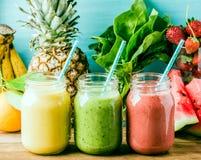 Smoothies fraîchement mélangés de fruit de divers couleurs et goûts Photo stock