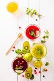 Smoothies frais de baie et de fruit Photographie stock libre de droits