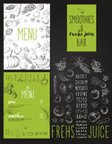 Smoothies and fresh juices bar menu Royalty Free Stock Photography