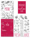 Smoothies and fresh juices bar menu Stock Images