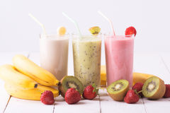 Smoothies. Fruit smoothies with  strawberry, kiwi & banana Royalty Free Stock Photo