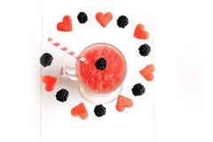 Smoothies fruta y baya de la sandía Imagen de archivo