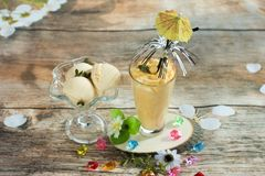 Smoothies and ice cream. Healthy summer. Breakfast on the veranda Stock Image