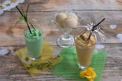 Smoothies and ice cream. Healthy summer. Breakfast on the veranda Royalty Free Stock Image