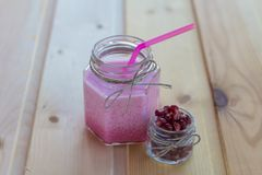 Smoothies and ice cream. Healthy summer. Breakfast on the veranda Stock Photography