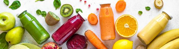 Smoothies and ingredients stock photography