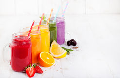 Smoothies, juices, beverages, drinks variety with fresh fruits and berries Stock Photography